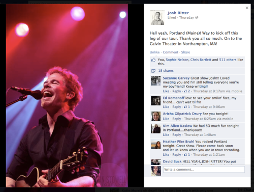 From Josh Ritter's Facebook page
