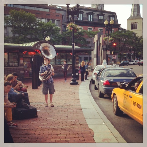 Buskers in Harvard Square