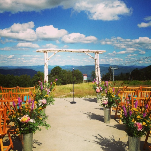 A perfect summer day for a wedding on top of Sunday River