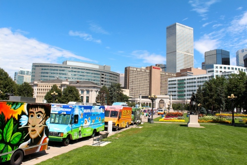 Food trucks in downtown Denver