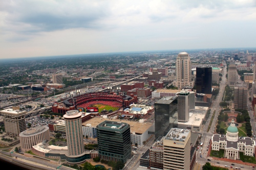View of St. Louis from the top of the arch