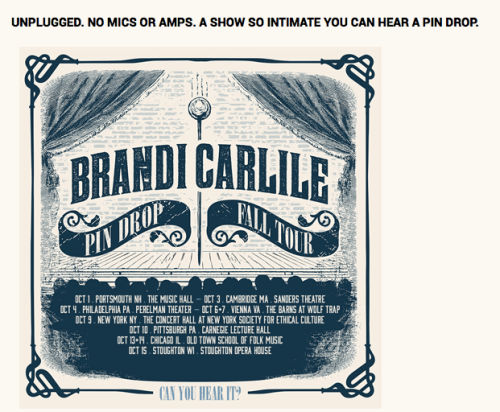 The pin drop tour announcement from brandicarlile.com
