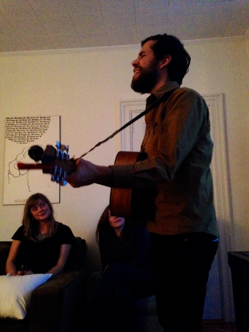 Max played us a song while Sophie lovingly looked on