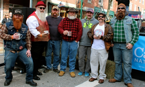 The impressive winners of the Second Annual Swine & Stein Beard and Mustache Competition