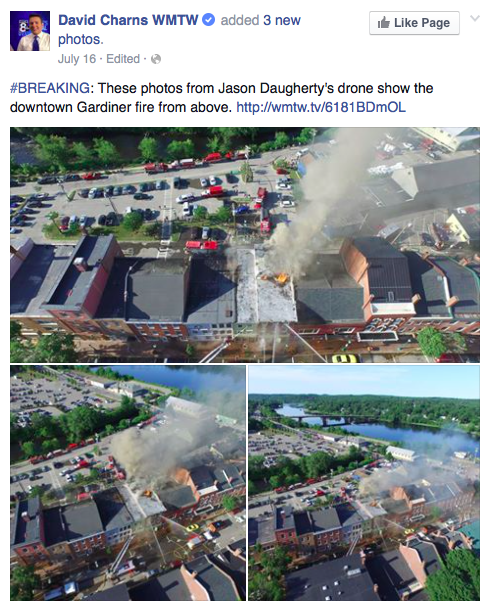 Aerial views of the fire from Jason Daughtery via WMTW's Facebook page